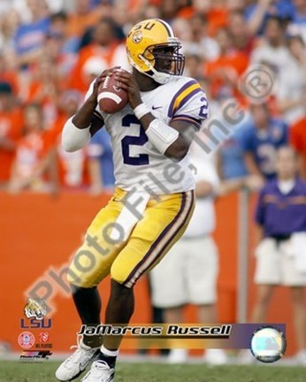 Framed JaMarcus Russell Louisiana State University 2006 Action Print