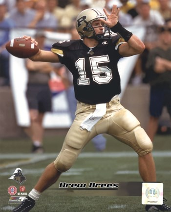 Framed Drew Brees - Purdue University Boilermakers 2000 Action Print