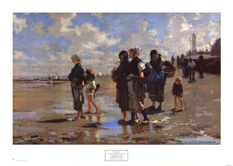 Framed Oyster Gatherers of Cancale Print