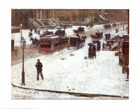 Framed Fifth Avenue in Winter Print