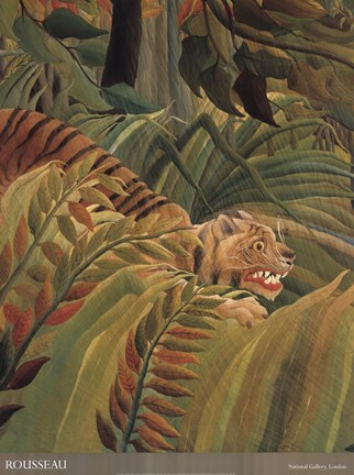 Framed Detail from 'Tiger in a Tropical Storm (Surprised!), 1891' Print