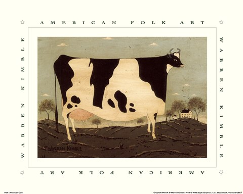 Framed American Cow Print