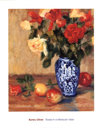 Roses In A Mexican Vase Fine Art Print By Bunny Oliver At