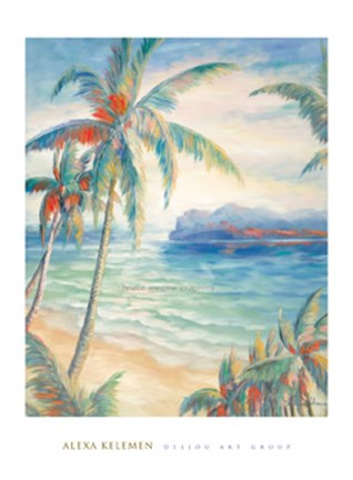 Framed Tropical Breeze I - palm trees Print