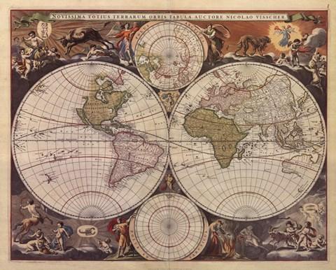 New World Map Th Century Fine Art Print By Nicholas Visscher At - 17th century world map