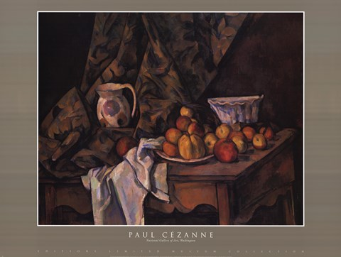 Framed Still Life w Apples and Peaches Print