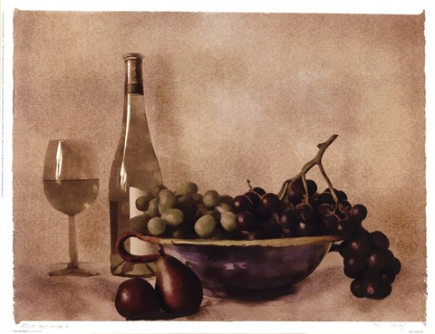 Framed Fruit And Wine I Print