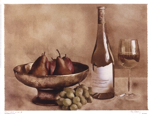 Framed Fruit And Wine II Print