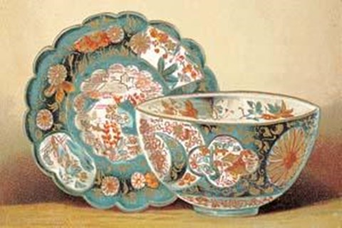 Framed Chinese Plates and Bowls Print