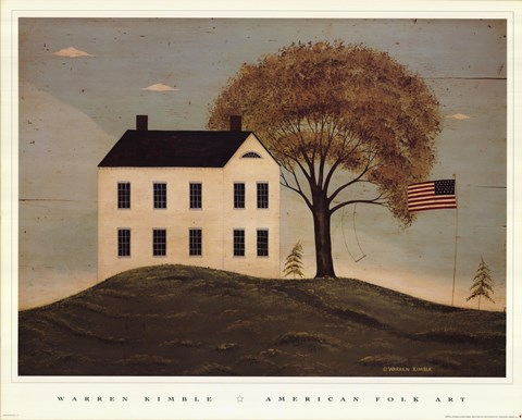 house with flag fine art print by warren kimble at fulcrumgallery.com