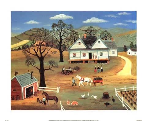 Framed Chores on the Farm Print