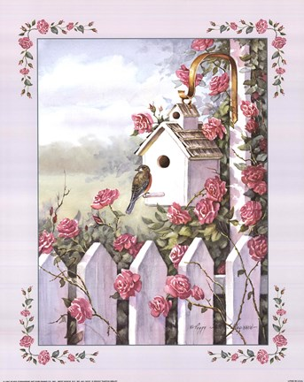 Birdhouse With Roses Fine Art Print By Peggy Thatch Sibley