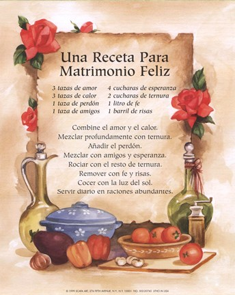 Framed Happy Marriage Recipe (Spanish) Print