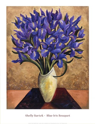 Framed Blue Iris Bouquet Print