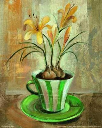 Framed Yellow Crocus Teacup Print