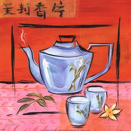Framed Asian Tea Set IV Print