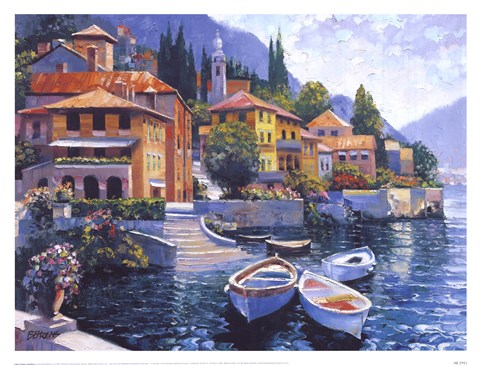 Framed Lake Como Landing Print