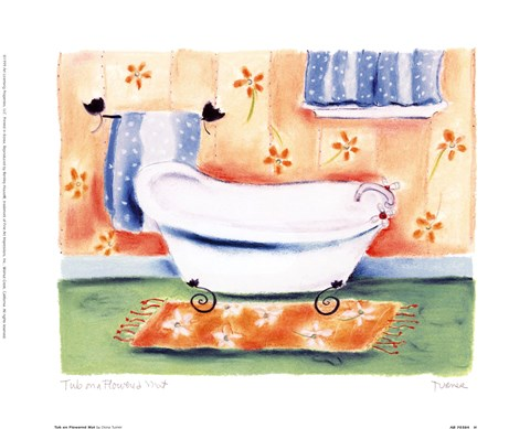 Framed Tub On Flowered Mat Print