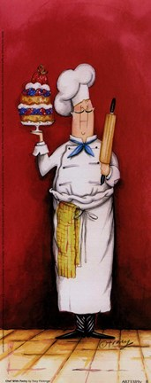 Framed Chef With Pastry Print
