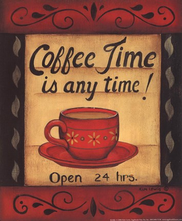 Framed Coffee Time Is Anytime Print