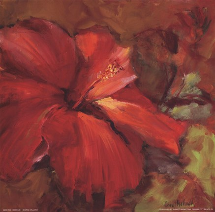 Framed Red Hibiscus I Print