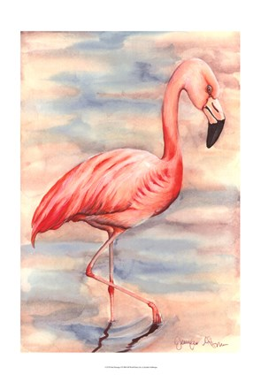 Framed Pink Flamingo I Print