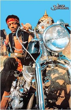 Jimi Hendrix Motorcycle Mural Wall Poster By Unknown