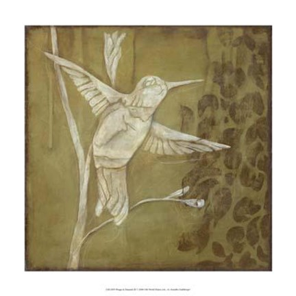 Framed Wings and Damask III Print