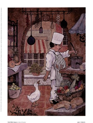 Chef With Goose Fine Art Print By Betty Whiteaker At Fulcrumgallery Com