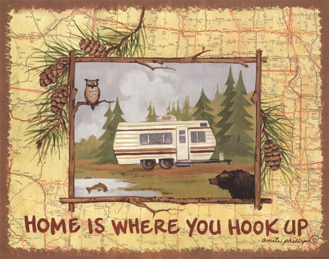 Framed Home is Where You Hook Up Print