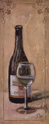 Framed White Wine With Glass Print