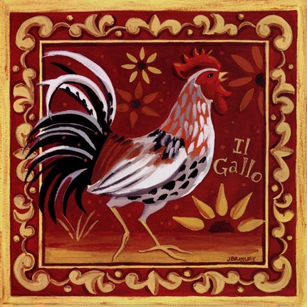 Framed Il Gallo I Print