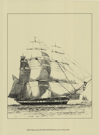 Framed Ships And Sails III Print
