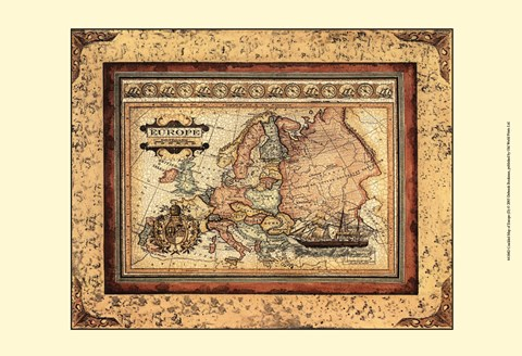 Framed Crackled Map Of Europe Print