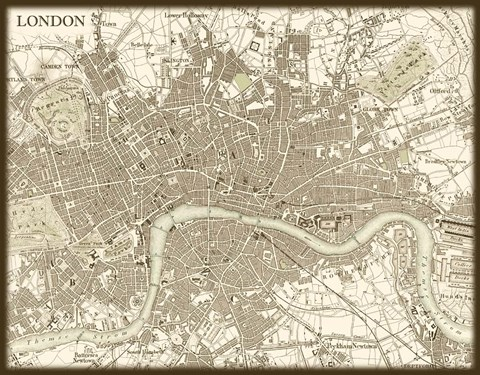 Framed Sepia Map Of London Print