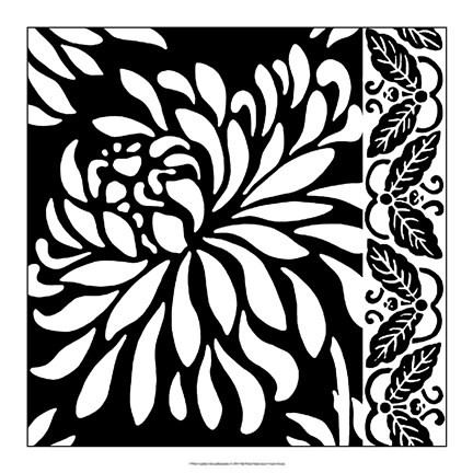 Framed Graphic Chrysanthemums I Print