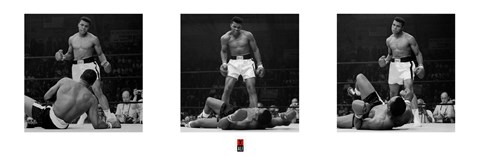 Framed Muhammad Ali - 1965 1st Round Knockout Against Sonny Liston - Triptych Print