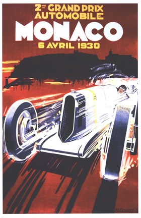 Framed Grand Prix De Monaco 1930 Print