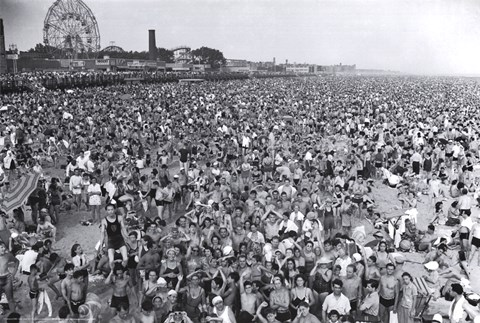 Framed Coney Island Beach Crowd Print