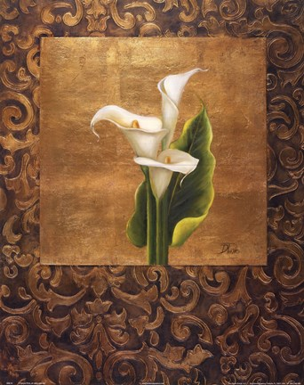 Framed Calla Lily With Arabesque I Print