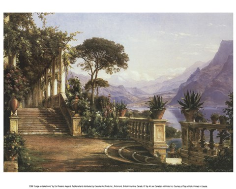 Framed Lodge on Lake Como Print