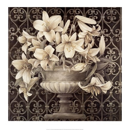 Framed Lilies in Urn Print