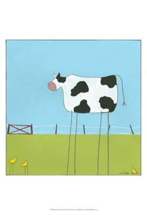 Framed Stick-Leg Cow II Print