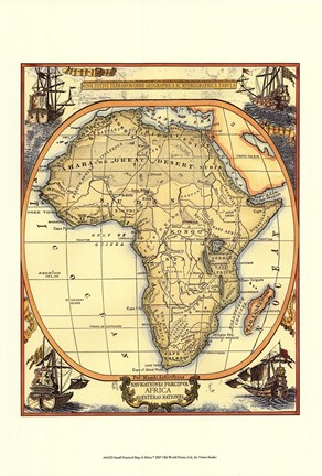 Small nautical map of africa fine art print by unknown at framed small nautical map of africa print gumiabroncs Images