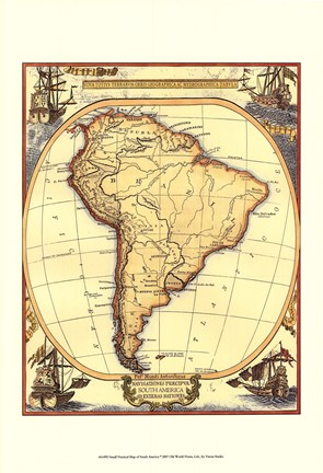Framed Small Nautical Map Of South America Print