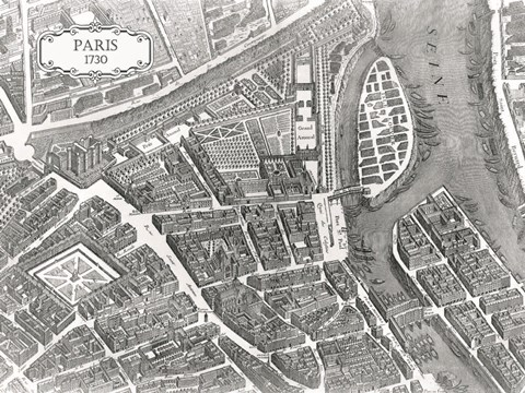 Framed Plan Of Paris, 1730 (I) Print