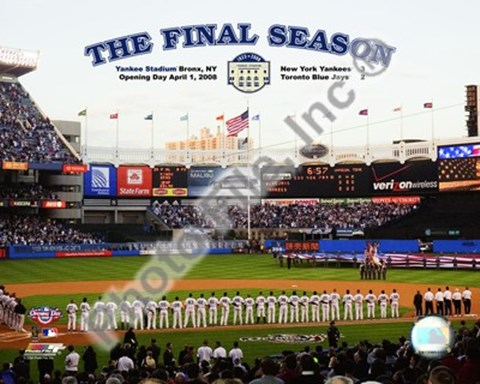 "Framed Yankee Stadium 2008 Opening Day With Overlay ""The Final Season"" Print"