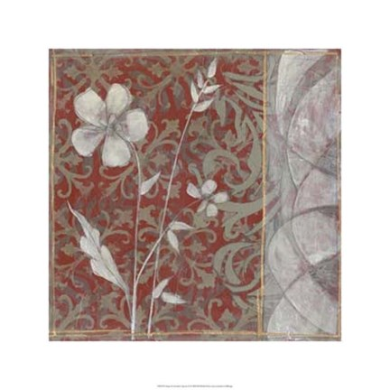 Framed Taupe and Cinnabar Tapestry II Print
