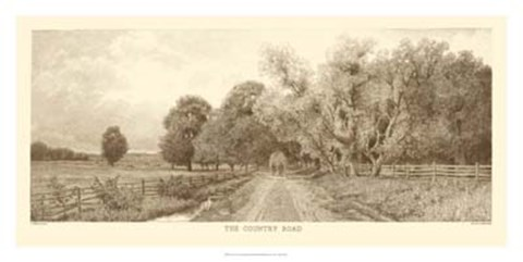 Framed Country Road Sepia Print