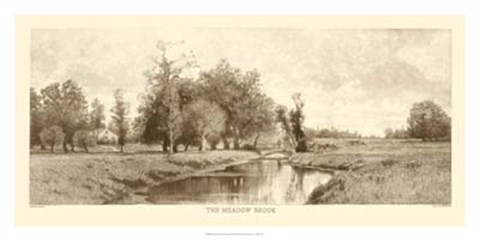 Framed Meadow Brook Sepia Print